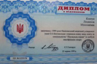 Кахановская Людмила - диплом с отличием