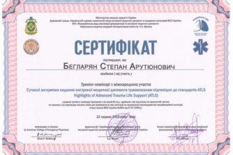 Бегларян Степан - Сертификат 2